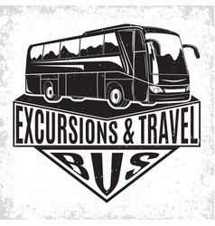 travel bus vintage emblem vector image