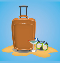 Travel suitcase on the beach with waterglasses vector
