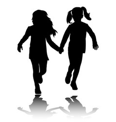 Two preschooler girls holding hands and running vector