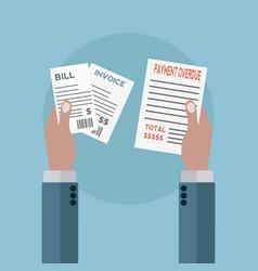Unpaid bills payment overdue vector