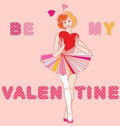 Valentine girl clown vector image vector image