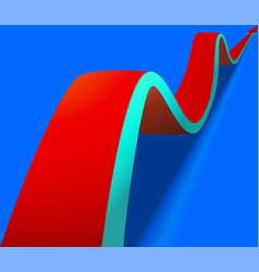 Wavy red arrow on blue background vector