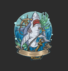 wild shark dengerous killer deep water vector image