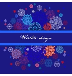 Winter design with red and blue snowflakes on dark vector