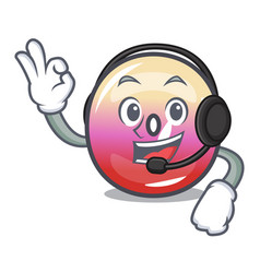 with headphone jelly ring candy mascot cartoon vector image