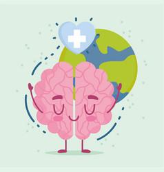 world mental health day cartoon brain heart vector image