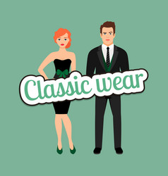 young couple in classic wear style vector image
