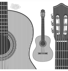 Acoustic Guitar in engraving style vector image vector image