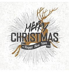 christmas card with christmas deer silhouette vector image vector image