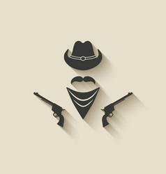 cowboy hat and gun vector image vector image