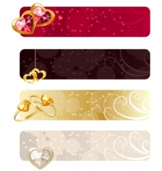 for horizontal banners with jewels vector image