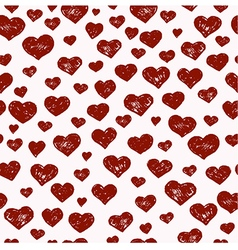 Hand drawn seamless pattern with red hearts vector image vector image