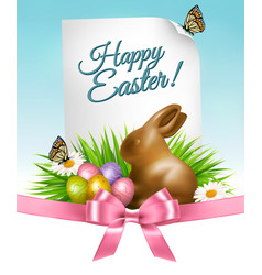 happy holiday background easter eggs and a vector image