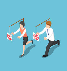 isometric business people try to catch target vector image vector image