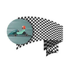kart competition symbol with checkered flag vector image