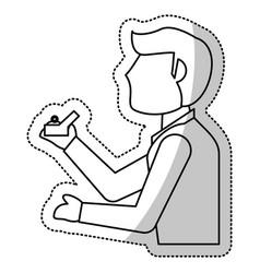 man groom box ring wedding outline vector image