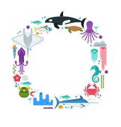 sea life border frame vector image vector image