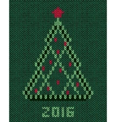 Christmas tree with red stylized star and balls vector image vector image