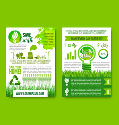 earth day infographics green energy concept vector image vector image