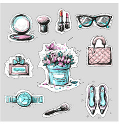 fashion elements stickers or badges hand drawn vector image