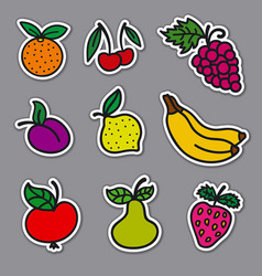 fruits and berries stickers vector image