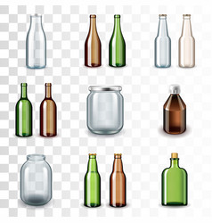 glass bottles icons set vector image