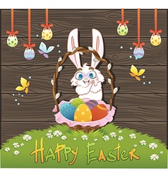 Happy easter with eggs and rabbit over wood backgr vector image