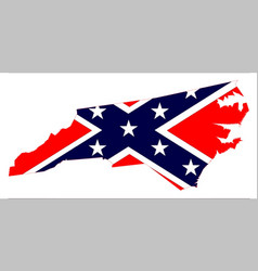 north carolina map and confederate flag vector image