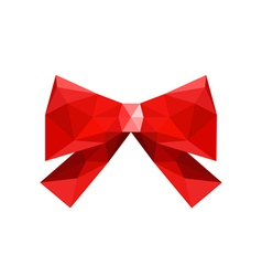 red origami bow isolated on white background vector image vector image