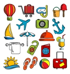 Travel trip and leisure icons vector image