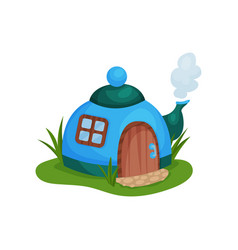 cute fantasy house in form of blue teapot with vector image