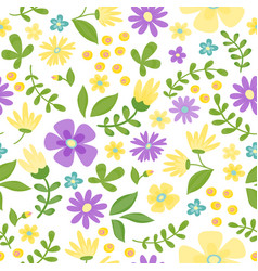 floral seamless pattern cute retro flowers wreath vector image vector image