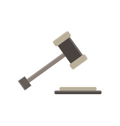 hammer of a judge gavel flat icon act bid bidder vector image