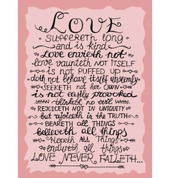 Hand lettering Love never fails from Corinthians vector image vector image