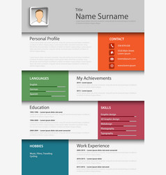 professional colored resume cv template eps vector image