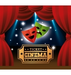 theater masks ticket cinema lights vector image