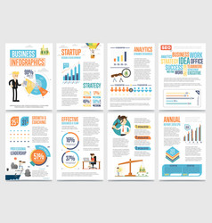 business infographics banner set with charts vector image