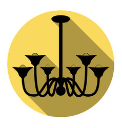 chandelier simple sign flat black icon vector image