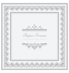 Paper lace square frame vector image vector image