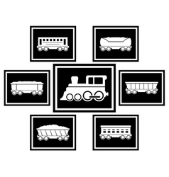 set icons for railway transportation vector image