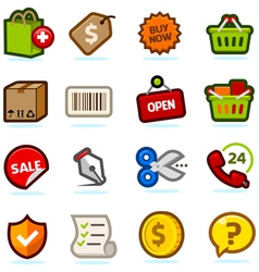Shopping icons set vector image vector image