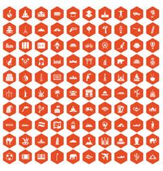 100 world tour icons hexagon orange vector