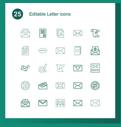 25 letter icons vector image