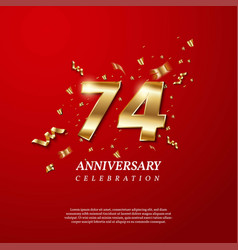 74th anniversary celebration golden number 74 vector