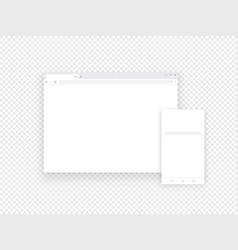 Adaptive mobile and web browsers mockup objects vector