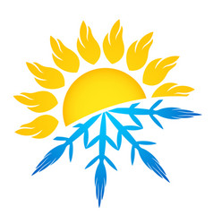 Air conditioning and heating sun and snowflake vector