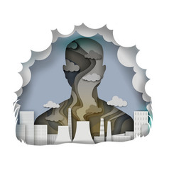 Air pollution in paper art vector
