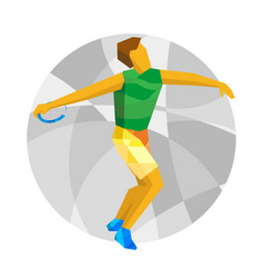athlete throwing the discus with abstract patterns vector image