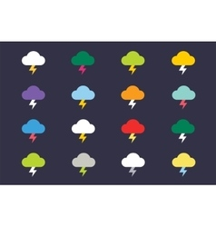 Attention warning cloud sign icons set vector