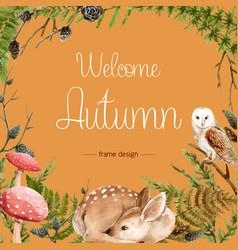 Autumn-themed border frame seasonal wild animals vector